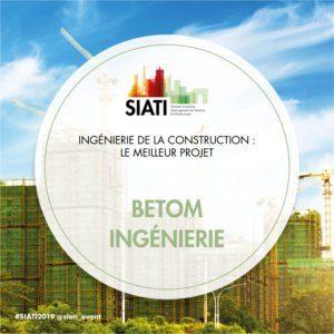 BETOM Ingénierie a reçu le pirx SIAIT 2018